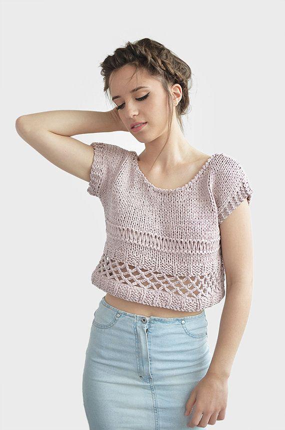 Cotton Crop Top Crochet Womens Short Top Hand Knit by Plexida
