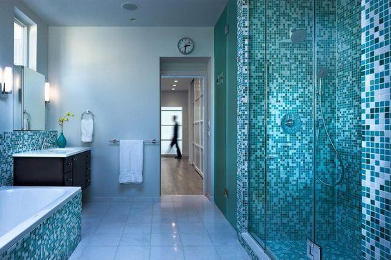 carrelage salle de bain bleu vert en sarcelle, tiffany, bleu pétrole ...