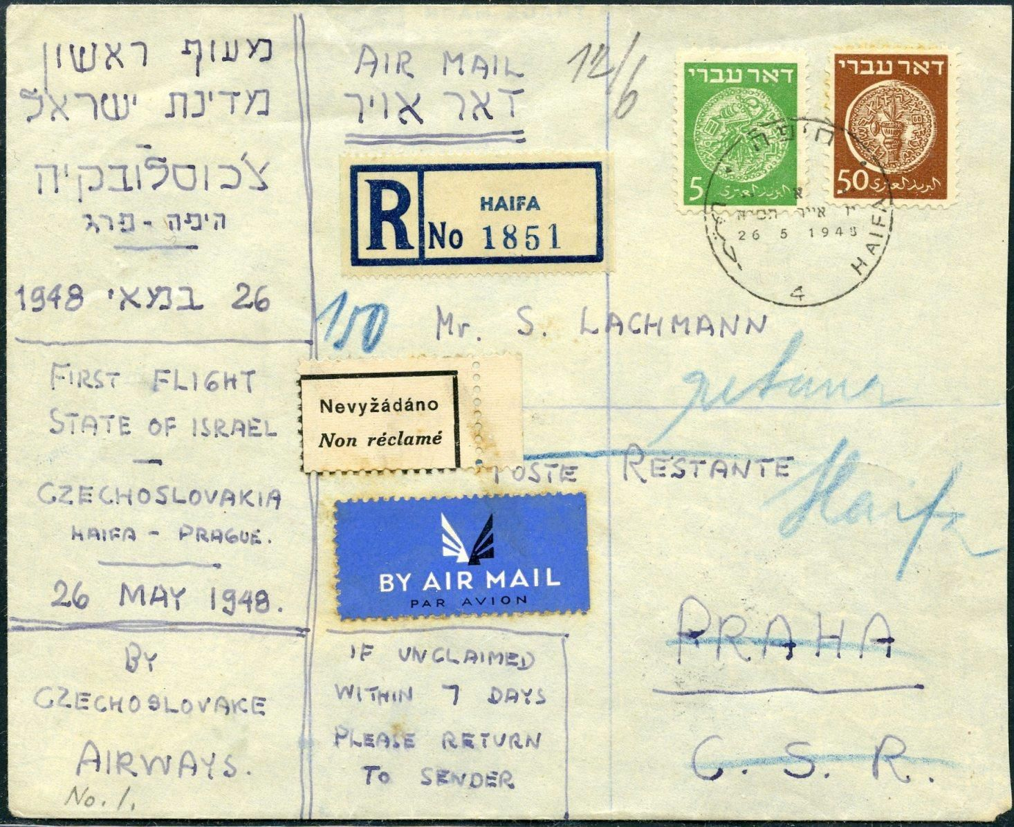 FIRST FLIGHTS Israel Czechoslovakia 26.5.48 by the