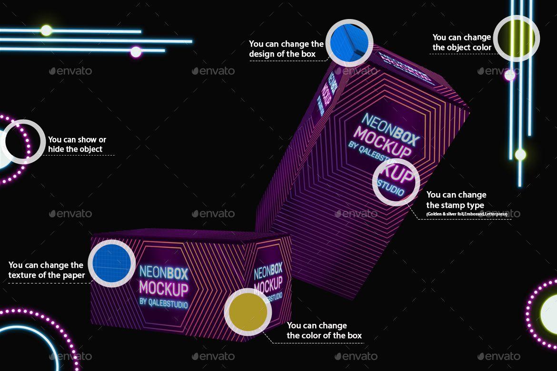 Download Neon Boxes Mockup Neon Box Box Mockup Neon