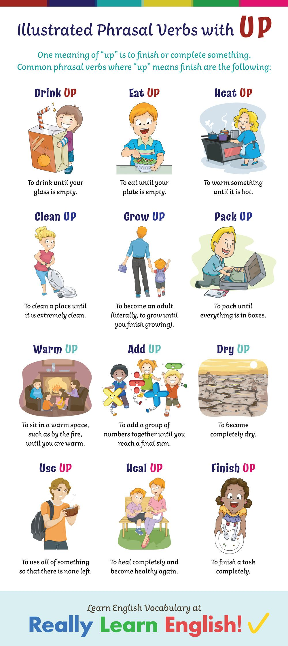 Phrasal Verbs With Up With Illustrations And Examples English Phrases English Idioms English Prepositions [ 2243 x 1000 Pixel ]