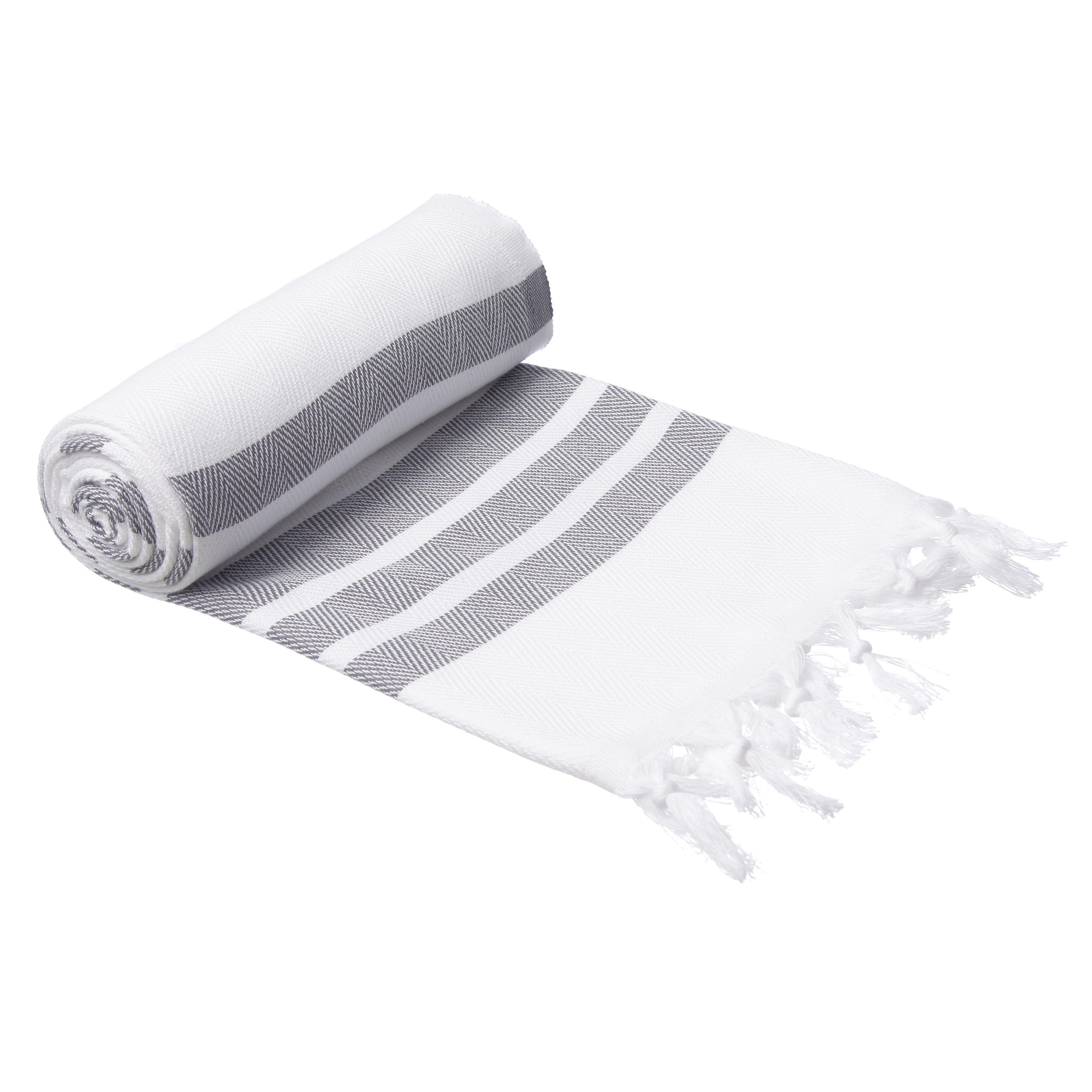 Authentic Pestemal Fouta Gray And White Bold Stripe Turkish Cotton