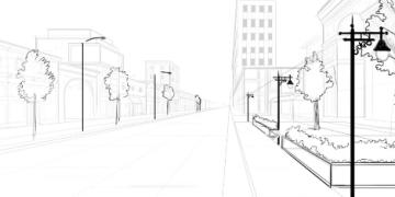 حل وظيفة رسم شارع ثلاثي الأبعاد مع أشجار Floor Plans Art