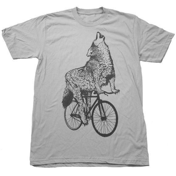 Mens WOLF Bicycle Print Short Sleeved di darkcycleclothing su Etsy