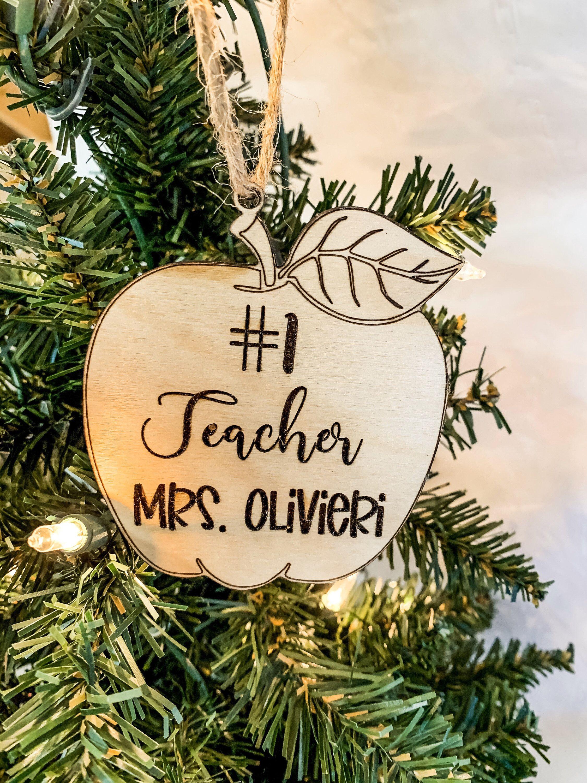 Custom Teacher Ornament - #1 Teacher Ornament - Teacher Christmas Gift - Custom Teacher Gift - Kids Teacher Gift - Teacher Ornament - School
