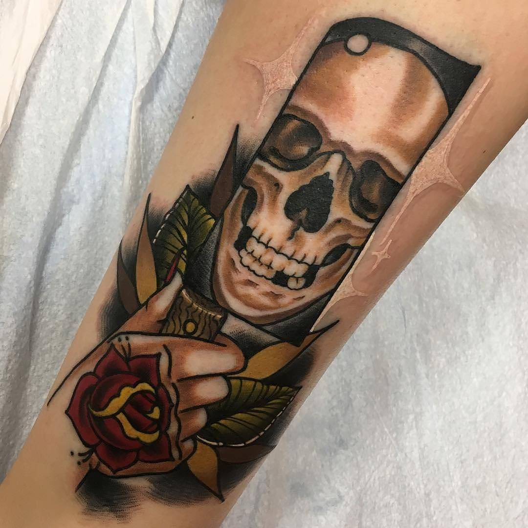 Cleaver skull tattoo by christophertattoos at