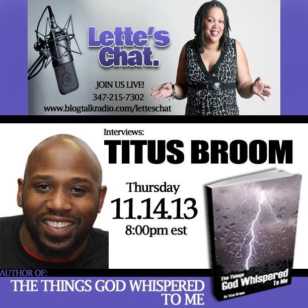 Lette's Chat interviews #AuthorTitusBroom