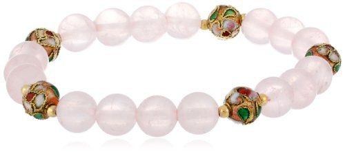 GoldFilled Rose Quartz with Pink Cloisonne Stretch Bracelet *** Check this awesome product by going to the link at the image. Note: It's an affiliate link to Amazon.