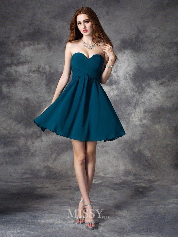 A-line/Princess Sleeveless Sweetheart Ruffles Mini Chiffon Dress