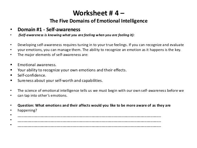 Worksheet 4 The Five Domains of Emotional Intelligence Domain – Self Worth Worksheets