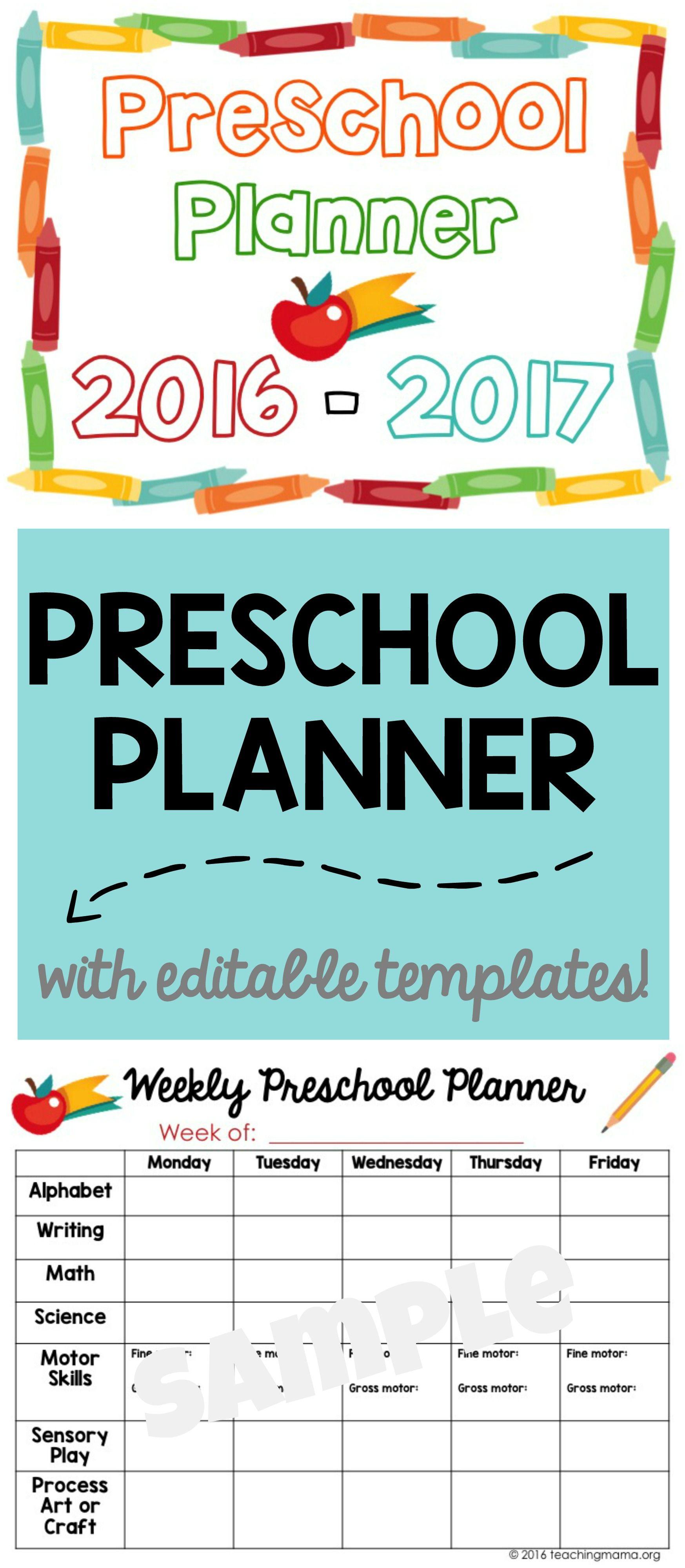 Printable Preschool Planner - On Sale Now   Pinterest   Preschool ...