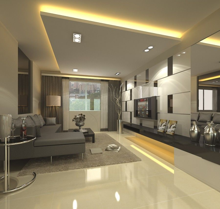 False Ceiling With Lights For Living Room With Flat Tv And Gray Sofa Sets Living Room