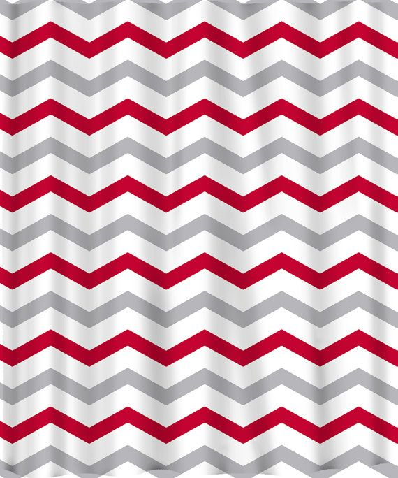 Custom Colors Shower Curtain Chevron or Stripes Red by redbeauty ...