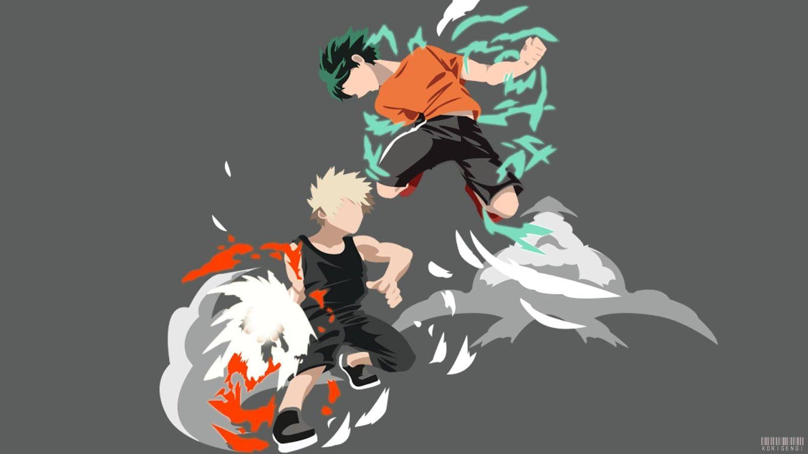 Pc Bakugo Vs Midoriya Hero Wallpaper Minimalist Wallpaper Anime
