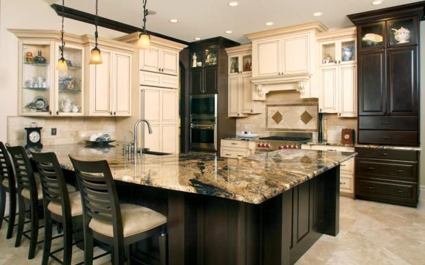 Traditional Kitchen Tan Tile Black Wooden Breakfast Bar Seating With Tan Cushion Cherry Cabinets Kitchen Brown Kitchens Dark Brown Cabinets