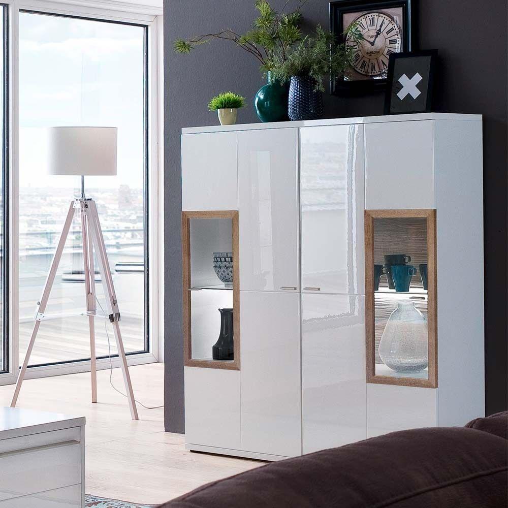 Wohnzimmer Highboard Ciabeta in Weiß und Eiche 8 cm breit