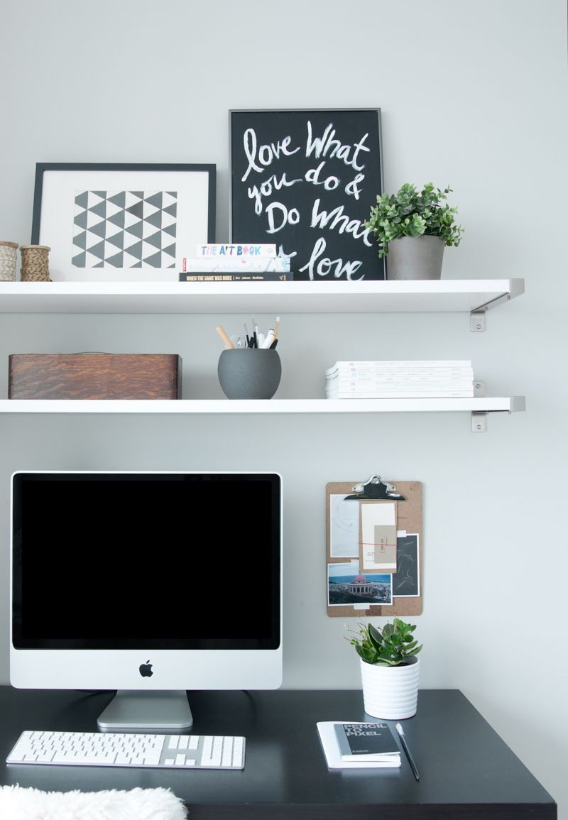 Like The Shelves Above The Desk Just Outside Of Toronto A Condo Filled With Things Loved Design Home Office Decor Simple Apartment Decor Workspace Design