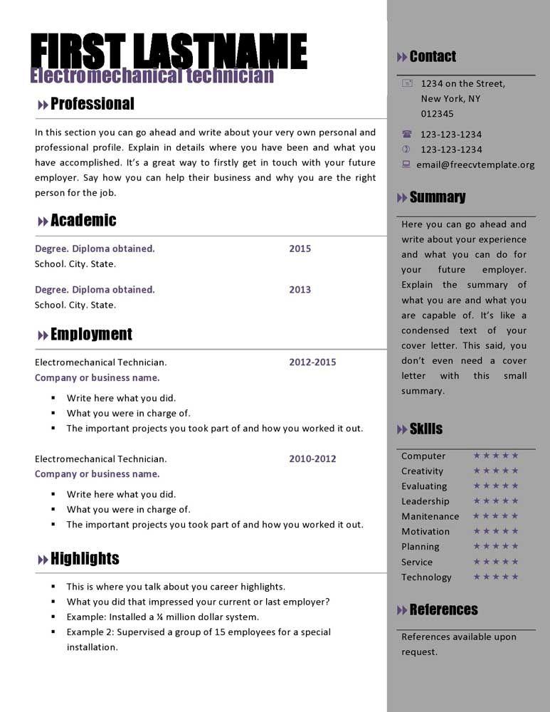 Free Resume Templates Microsoft Resume template free
