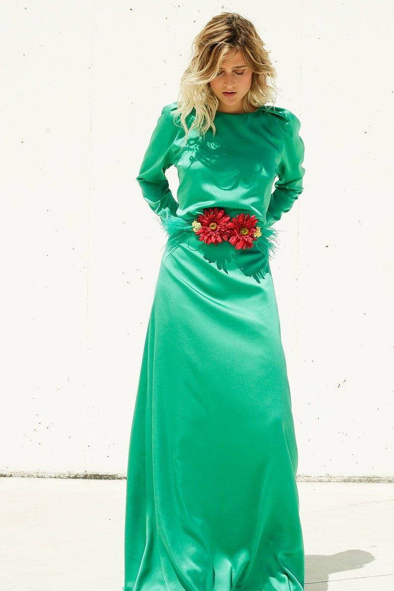 Vestido Largo Verde Satén Boston | Cinturones, Plumas verdes y ...