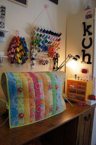 Cute sewing machine cover made w/Monica Solorio-Snow's MochiMochi Yum Yum.