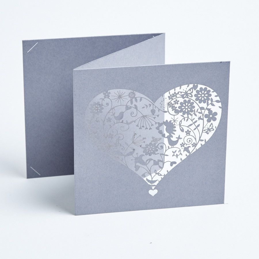 wedding invitation rsvp wording funny%0A This clever trifold design finished with its pretty laser cut heart offers  the option to include a doublesided RSVP One third of the invitation has