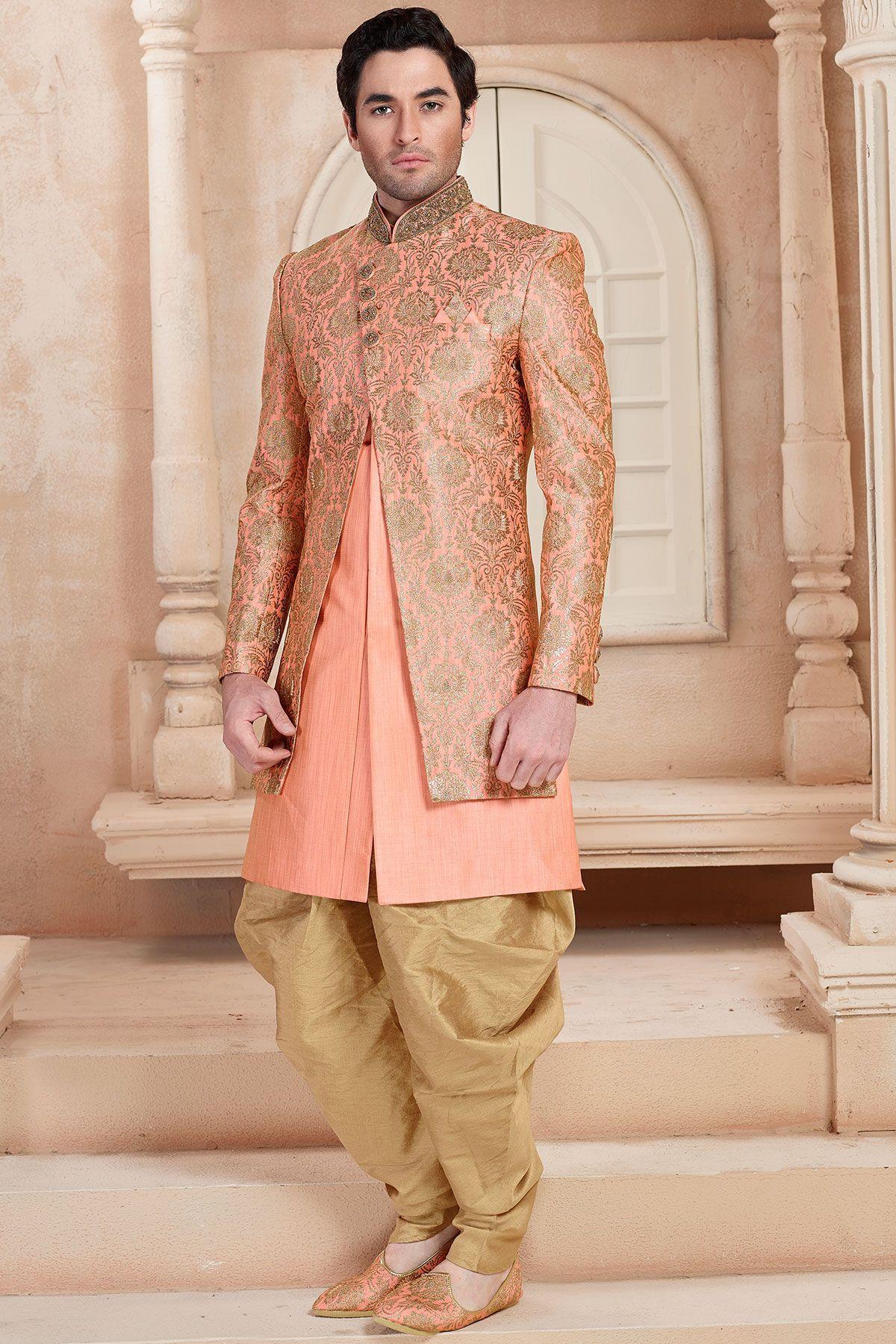 d757822fac Orange & Gold Silk Zardosi Embroidered Indo Western Sherwani-IW1015