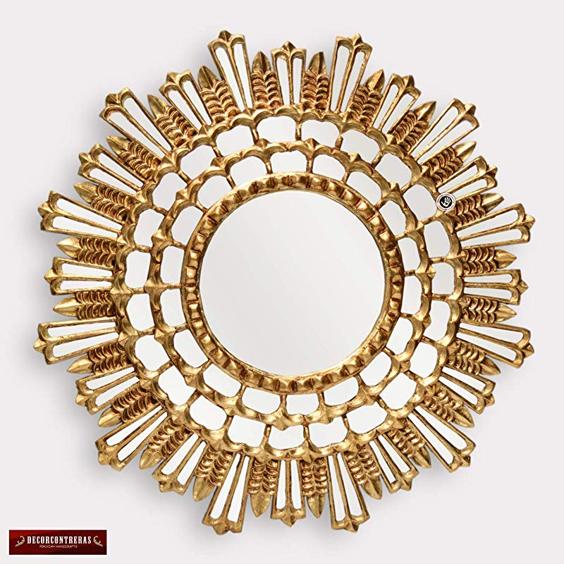 Amazon Com Decorative Gold Round Mirror For Wall 31 5 Peruvian Large Wall Sunburst Mirror Luxury Gold Mirro In 2020 Round Gold Mirror Wall Sunburst Sunburst Mirror