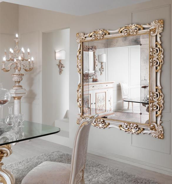paris collection large gold and white wall mirror with antiqued mirrored surrounding panels shown here