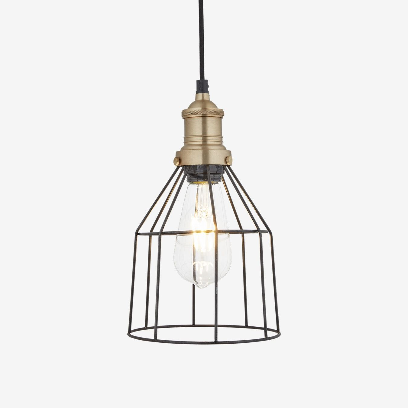 6 Inch Brooklyn Wire Cage Pendant Light In Pewter W Brass Holder In 2020 Wire Cage Pendant Light Cage Pendant Light Pendant Light