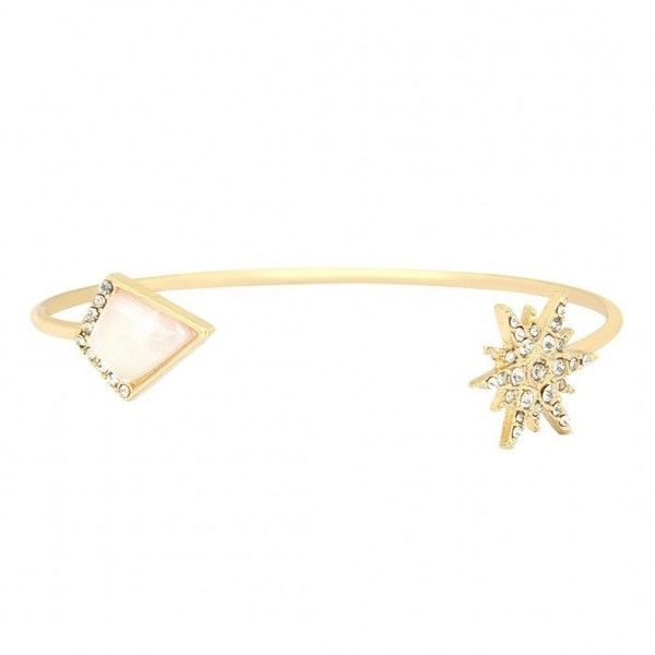 Yoins Geo and Starburst Open Bangle Bracelet ($4.06) ❤ liked on Polyvore featuring jewelry, bracelets, gold, rhinestone jewelry, druzy jewelry, bracelets bangle, pave jewelry and stackers jewelry