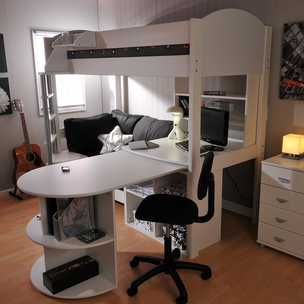 5e209364c9ad Stompa Casa 4 High Sleeper with Sofa Bed, Pull Out Desk, Shelf & Cube Unit