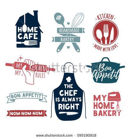 Set Of Color Vintage Retro Handmade Badges Labels And Logo Elements Retro Symbols For Bakery Shop Cooking Club Cooking Logo Vintage Cafe Design Bakery Shop