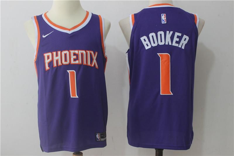 Men  1 Devin Booker Jersey Purple Phoenix Suns Jersey Authentic Player 90e6b7a6d