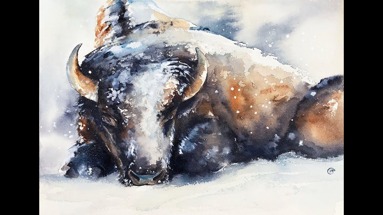Watercolor Bison In The Snow Painting Tutorial Youtube