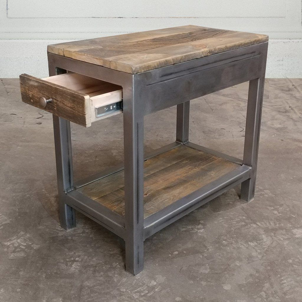 Reclaimed wood and metal end table with storage free shipping 076 all