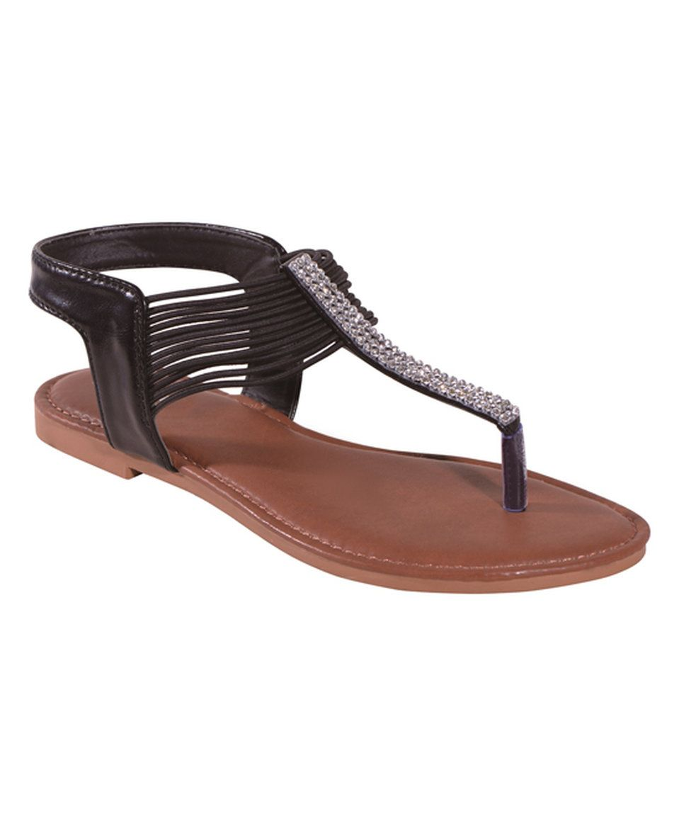 ed21e2010169d Another great find on  zulily! STEVEN ELLA INC Black Rhinestone T-Strap  Stretch Sandal by STEVEN ELLA INC  zulilyfinds