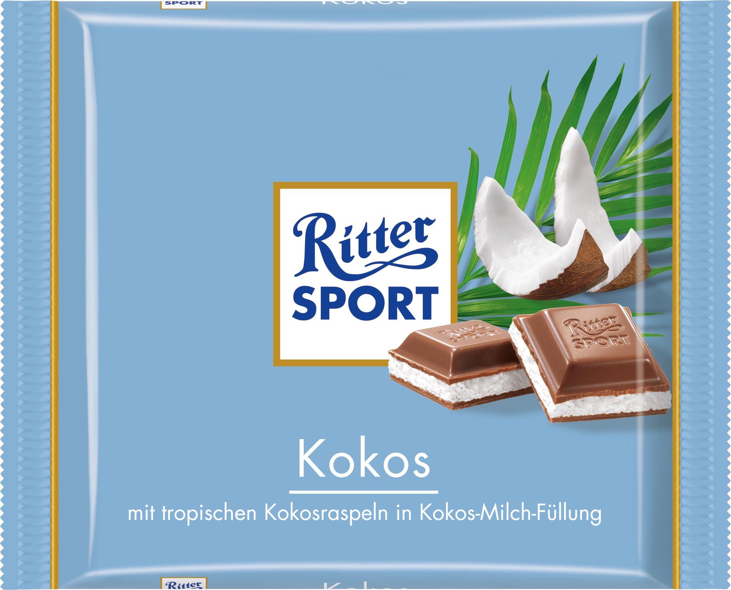 Ritter Sport Kokos Chocolat au lait fourré à la noix de