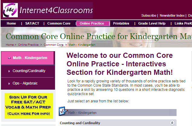Online Practice - Interactives Section for Kindergarten Math! Word ...