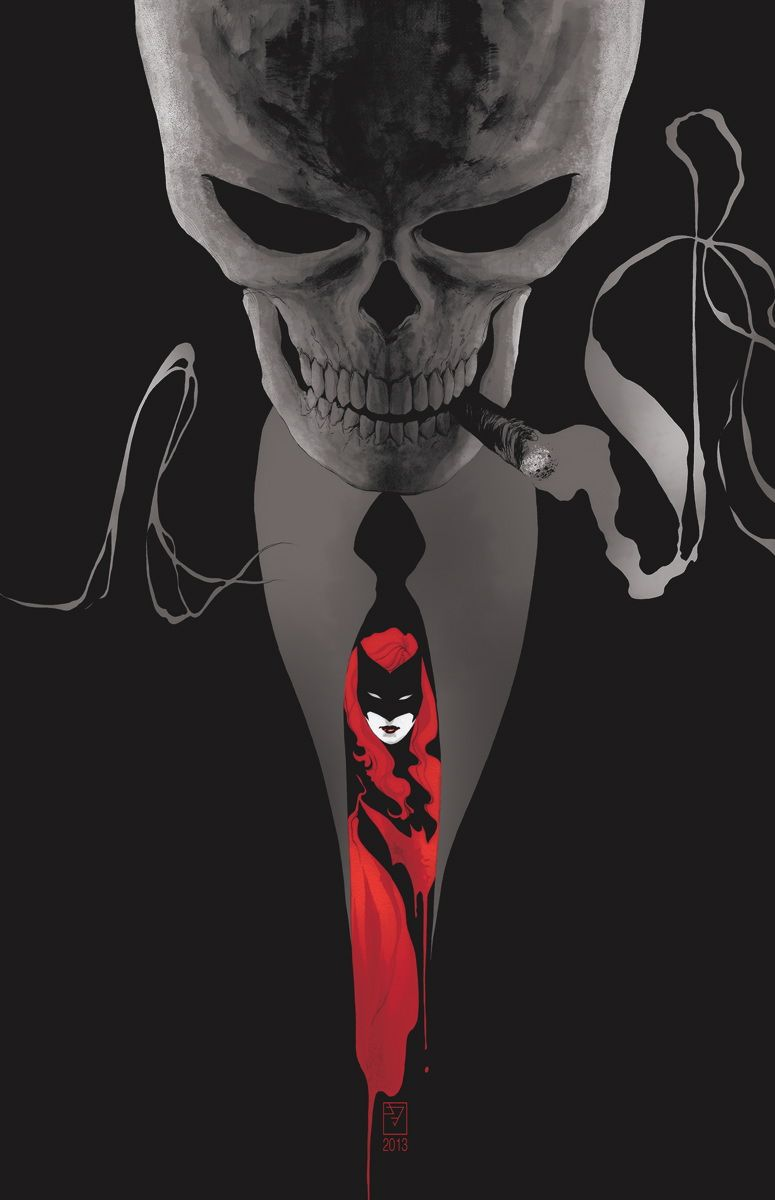 BATWOMAN #25  Written by J.H. WILLIAMS III and W. HADEN BLACKMAN  Art by TREVOR McCARTHY and JEREMY HAUN  Cover by J.H. WILLIAMS III  On sale NOVEMBER 20 • 32 pg, FC, $2.99 US RATED T+  The no-holds-barred battle between Batwoman and Batman threatens to kill them both!