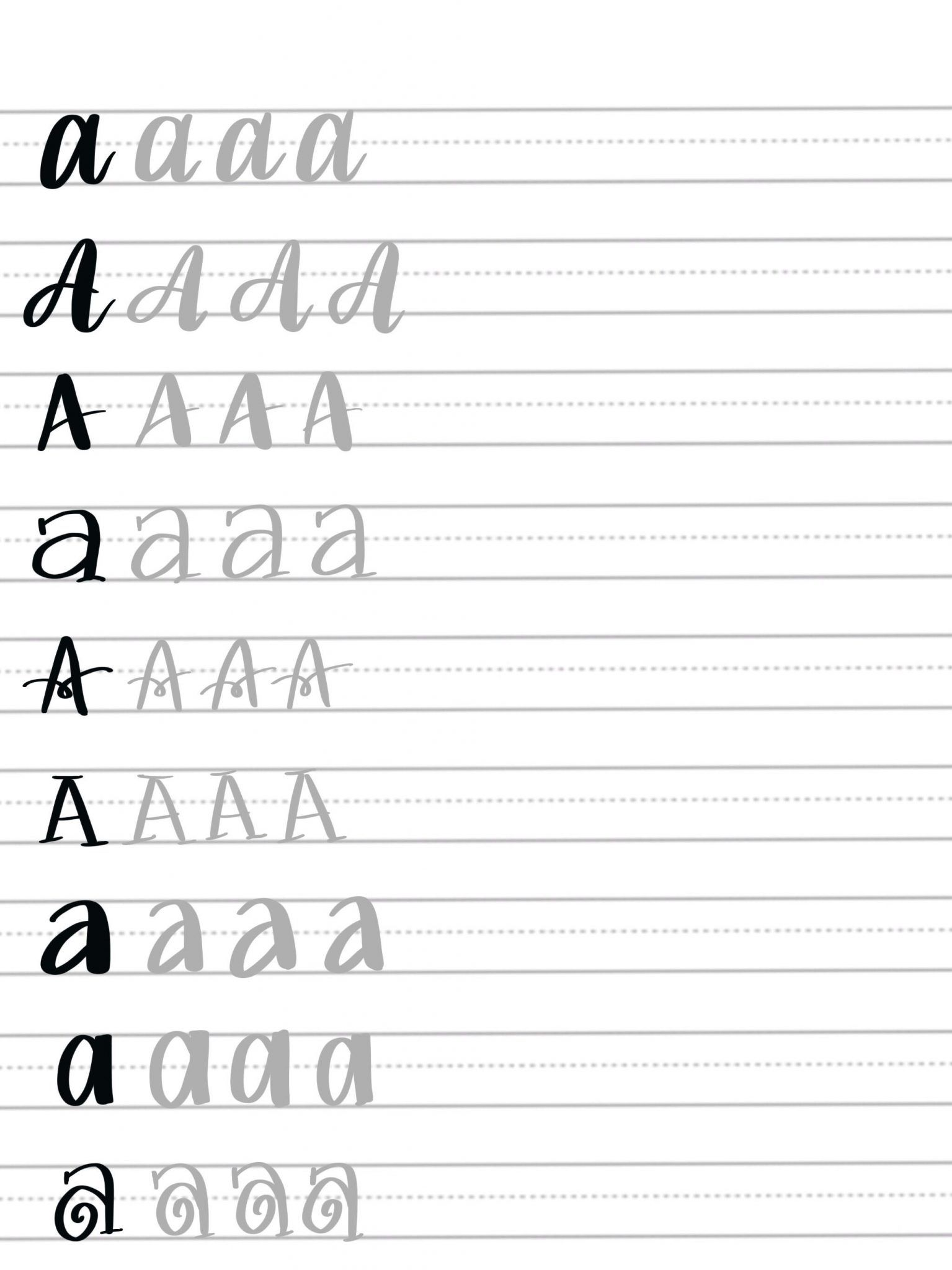 Hand Lettering Practice Sheets 9 Ways To Draw An A