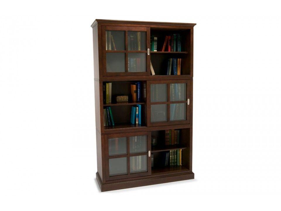 Metro Three High Sliding Door Bookcase | Bookcases | Home Office ...