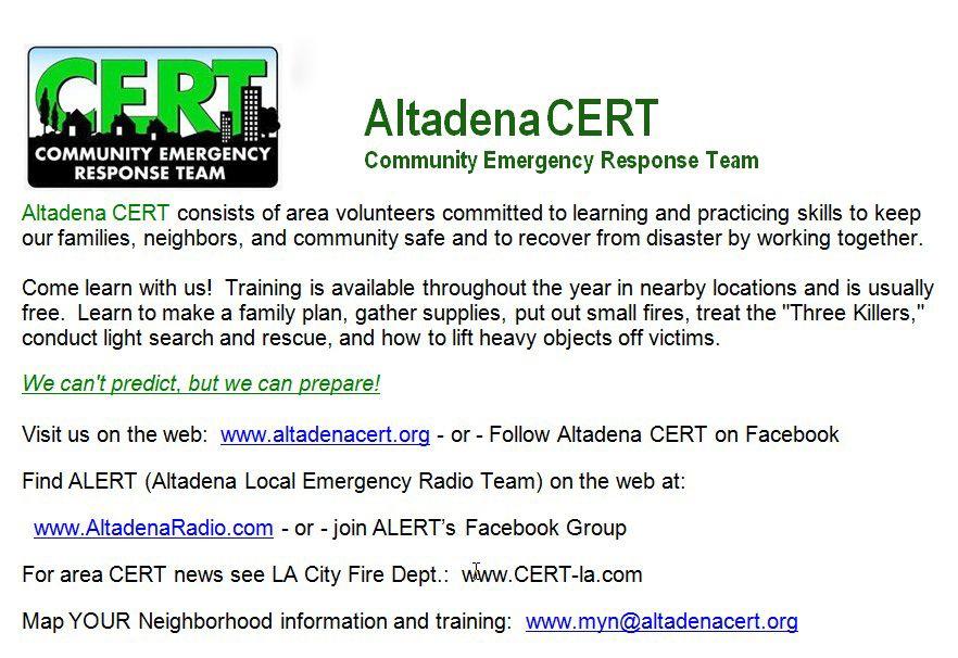 Altadena CERT flyer | Deb's CERT Suggestions | Emergency