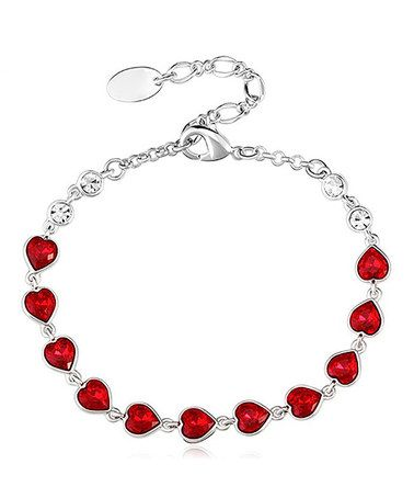 Another great find on #zulily! Red Heart Skipped a Beat Bracelet with Swarovski® Crystal #zulilyfinds