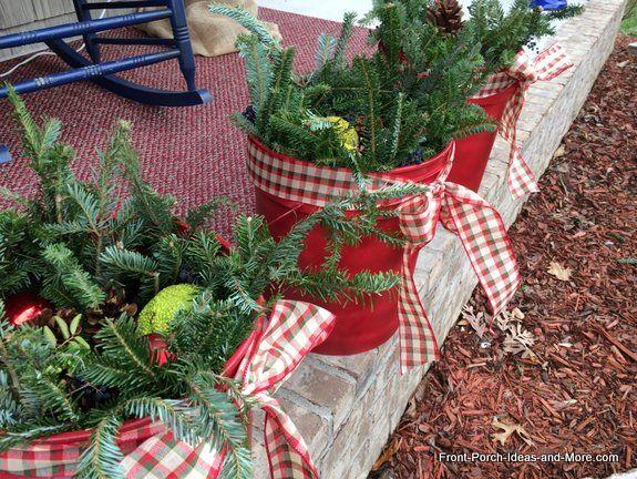 How To Make A Christmas Porch Festive Bucket Decorations Diy Christmas Porch Christmas Porch Decor Christmas Diy