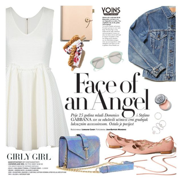 Girly girl by purpleagony on Polyvore featuring polyvore, fashion, style, River Island, Coach, Bobbi Brown Cosmetics, girly, laceup, littlewhitedress, yoins and laceupflats