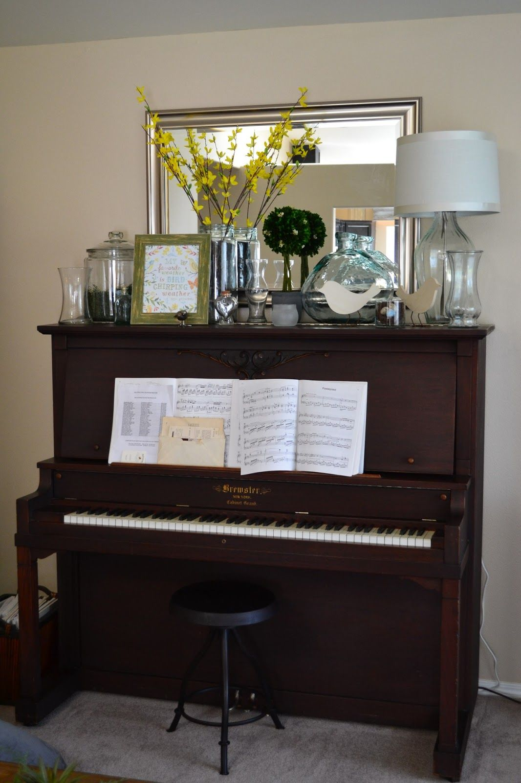 Spring decor on top of the piano i did this pinterest for Piano room decor