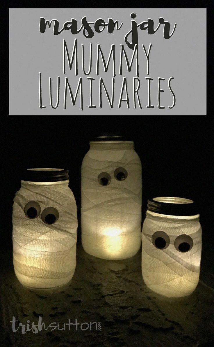 Mason Jar Mummy Luminaries Pinterest Halloween diy, Easy - cool homemade halloween decorations