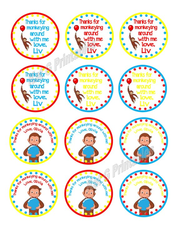 Curious George Stickers x 5 Curious George Birthday Party Favours Monkey