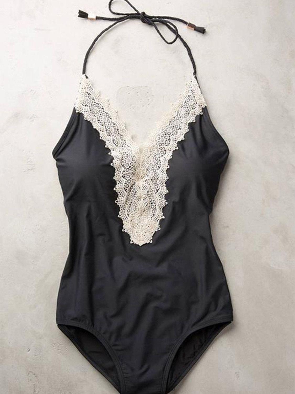 Black Halter V-neck Lace Trim One-piece Swimsuit