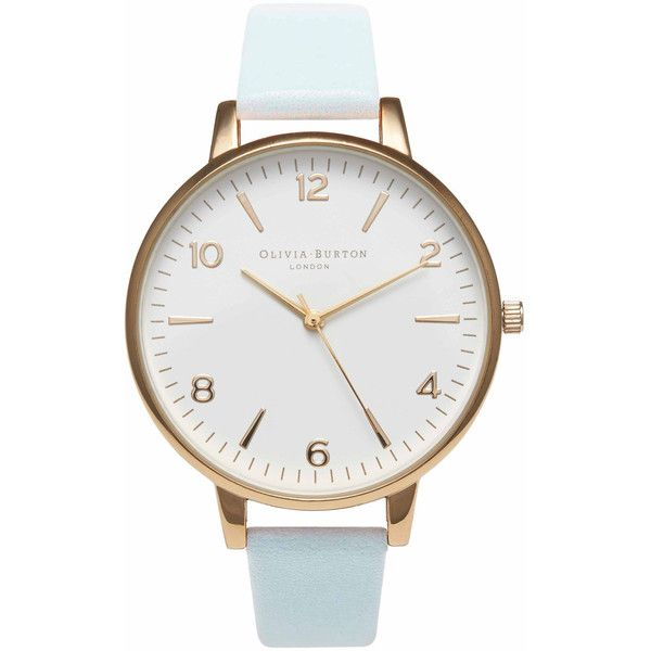 Olivia Burton Large White Face Watch - Gold & Powder Blue (€86) ❤ liked on Polyvore featuring jewelry, watches, accessories, bracelets, часы, quartz movement watches, yellow gold watches, olivia burton watches, gold watches and white faced watches